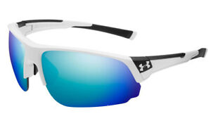 New $135 Under Armour UA Changeup Dual Sport Sunglasses White Blue Multiflection