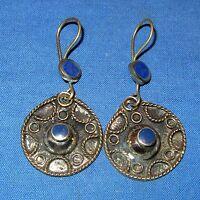 "Earrings Circle Carnelian or Lapis Afghan Kuchi Tribal Alpaca Silver 1 1/2"""