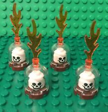 Lego X4 New Skeleton Head Case With Trans-clear Dome,Fire / MOC Halloween Parts