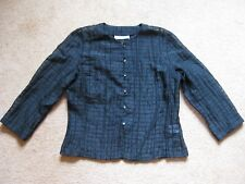 Ladies' Wallis Black Checked Sheer Three Quarter Sleeve Buttoned Top/Blouse 12