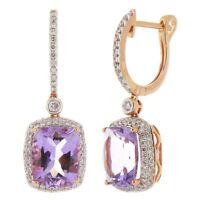 14k White Gold 0.50ctw Peridot & Diamond Hoop Dangle Earrings
