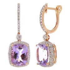 14k Rose Gold 0.80ctw Amethyst & Diamond Dangle Drop Hoop Earrings