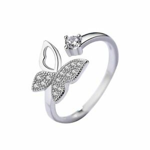Sterling Silver Rhodium Butterfly CZ Crystal Adjustable Ring Women Jewellery