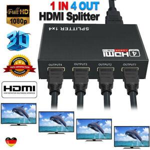 HDMI Splitter 1 in 4 out Adapter Verteiler 4 Port HDMI1.4 Hub Full HD 1080P 3D