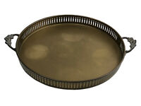 Vintage Brass Serving Tray Round Platter Ornate Floral Handles Rustic Farmhouse