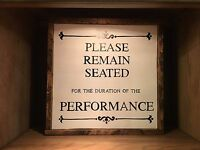 bathroom rustic wood sign PLEASE REMAIN SEATED home decor, toilet sign, restroom