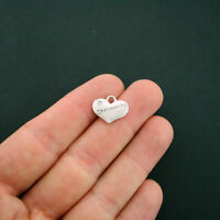 4 Christening Charms Antique Silver Tone 2 Sided Heart with Rhinestone - SC5837