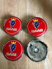 4x Saab Wheel Centre Cap Alloy Hub New Set Of 4 Centre Caps 60mm Red/Silver