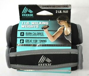 RBX Reebok Pair 1 Lb Walking Weights 2 lbs Total Exercise Handheld Black Gray