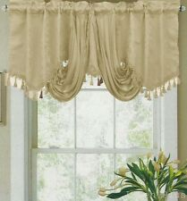 "Beige Embossed Waterfall Satin Decorative Trim Window Valance 18""x 54"""
