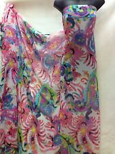 Designer Multicolour Chiffon Large PaisleyPrint Fabric Dress Craft wedding light