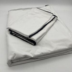 Teogrin 100% Organic Cotton Percale Duvet Cover Set King Size 5PC White Black