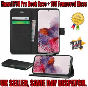 Huwei P30 Pro Leather Flip Wallet Book Case Strap + 10D Tempered Glass Protector
