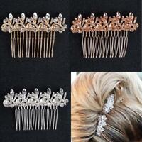 Bridal Wedding Crystal Jewel Diamante Hair Comb Clip Slides Hairpins Hairpiece