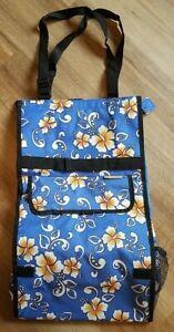 Vintage Bovano USA Tapestry Bag on Wheels Rolling Foldable Hawaiian Print Blue