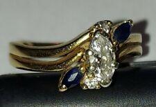 Ladies 14K Yellow Gold Diamond & Sapphire Ring 3.6 Grams Size 6