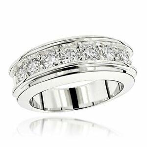 5Ct Round-Cut DVVS1 Diamond Men Wedding Half Eternity Band 14K White Gold Finish