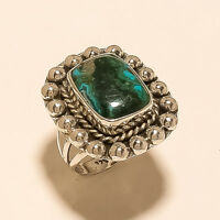 Natural Arizoan Chrysocolla Ring 925 Sterling Silver Handmade Fine Jewelry Gifts