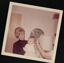 Vintage Antique Photograph Two Women Giving Cute Little Baby A Haircut