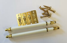 SIDELIGHT SASH CURTAINS RODS EXTEND 4 1/2 TO 6 1/2 INCHES 2 PER PACK WHITE BRASS