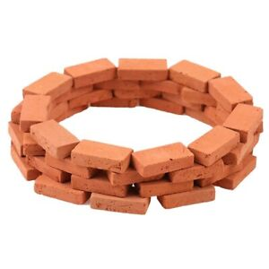 50 Pcs Dollhouse Exterior Miniature Red Clay Bricks 1/16 Scale Mini Bricks