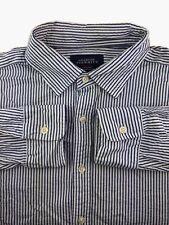 Men's Charles Tyrwhitt Shirt XL Blue Striped Classic Fit Single Cuff