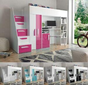 Hochbett mit Schreibtisch Schrank Regal und Treppe PARIS 4 hochglanz weiß grau