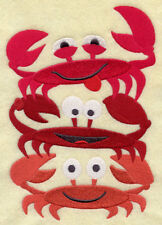 CRAB STACK SET OF 2 BATH HAND TOWELS EMBROIDERED BY LAURA