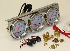 TRIPLE GAUGE CHROME VOLT AMP WATER PRO QUALITY! READ ME EARLY HOLDEN FORD FALCON