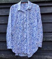 JOULES White/Blue Floral Pure Linen Oversized Shirt UK10 EU38