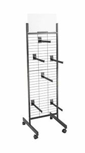FixtureDisplays Double Sided Metal Gridwall Tower & 12 faceout hooks 19364