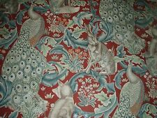 """WILLIAM MORRIS CURTAIN FABRIC  """"Forest Linen"""" 3 METRES RED ARCHIVE PRINTS"""