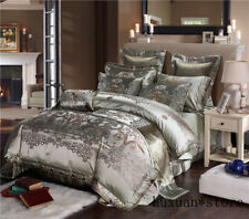 Silk Cotton Satin Jacquard Luxury Chinese Bedding Set Queen King Size Bed Sheet