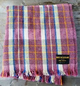 Vintage Scottish Wool Throw Mauve Plaid
