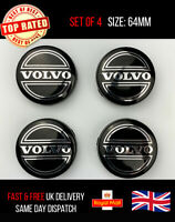 4 x Volvo 64mm Alloy Hub Wheel Centre Caps Set  Emblem Top Quality Black/Silver