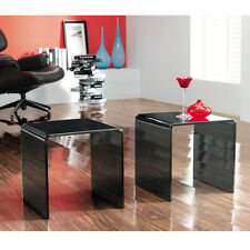PAIR OF GLASS SIDE END TABLES COFFEE SET TWO CURVED LIVING BENT TABLE EDGE