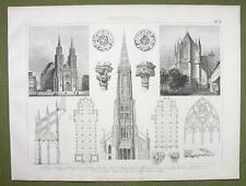 GOTHIC ARCHITECTURE Prague Ulm Gladbach Cologne - 1870s Engraving Print
