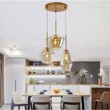 Modern 3-Lights Chandelier Cognac Glass Kitchen Home Lighting Ceiling Fixtures