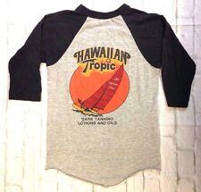 vtg 80s HAWAIIAN TROPICS RAGLAN SHIRT dark tanning oil surf sailing black gray