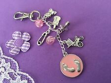 Baby Changing Bag Charm - Pink - Girl - Handmade Baby Shower Gift