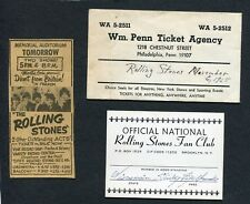 1965 Rolling Stones 3 Items Concert Ticket Envelope Fan Club Membership and Add
