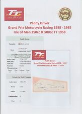 PADDY DRIVER MOTORCYCLE RACER 1958-1965 IOMTT ORIGINAL SIGNED CUTTING/CARD