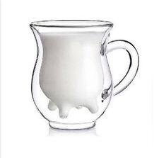 COW Udder shape double walled clear glass milk coffee tea mug cup w handle