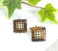 Vintage Square Slate Cufflinks - With Gold Leaf Crackle Glaze Effect