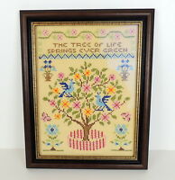 Vintage Paragon Tree of Life Cross Stitch Embroidery Linen Sampler Framed