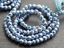 "HAND FACETED BLUE COLOUR COATED PYRITE RONDELLES, 3.5mm / 4mm, 13"", 95 beads"