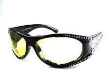UV 46127R Rhinestone Lady Motorcycle Glasses Yellow