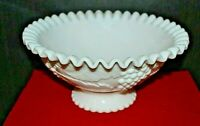 Vintage Fenton large fruit bowl -MILKGLASS Milk glass, Fluted, Grape vine design
