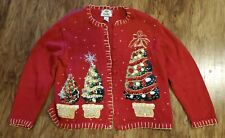 VINTAGE Tiara International Ugly Christmas Tree Sweater Cardigan XL Red Detailed
