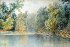 Perkins, Granville 1830-1895 Original Watercolor. The Boating Party. USA